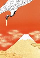 富士山に鶴 赤バック