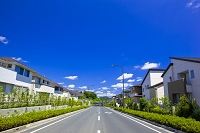 東京都 青空の住宅地と一本道