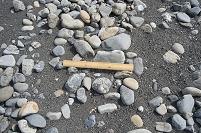 安倍川 河口に形成された砂州 砂礫の様子 石の大きさ