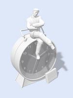 巨大な目覚まし時計の上に座って悩むビジネスマン