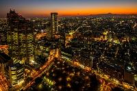 東京都 都庁展望室から見る夕暮れの街と富士山