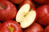 リンゴの断面と一面のリンゴ(サンフジ)