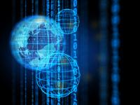 地球儀とデジタル数字