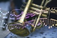 トランペットと音符