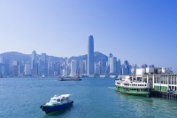 中国 香港 九龍から見た香港島