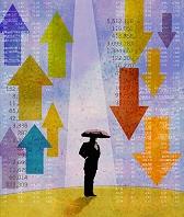 イラスト 上昇と下落をする株価の間で傘を差すビジネスマン