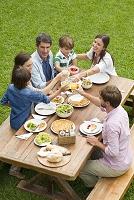 ピクニックする家族と友人たち
