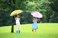 傘をさす日本人の子供