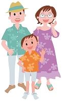 アロハシャツを着た家族