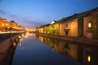 北海道 小樽運河と倉庫群 夕景