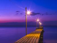 千葉県 原岡海岸と桟橋の夕景