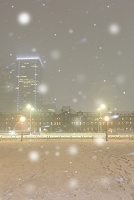 東京都 雪の東京駅と行幸通り