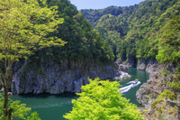 奈良県 新緑の瀞八丁とウォータジェット船 瀞峡