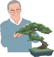 盆栽の手入れをするアクティブシニアの日本人男性