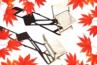 紅葉と木の椅子