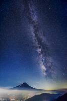 山梨県 富士山と天の川と河口湖