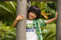 木の間から顔を出す男の子