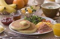 パンケーキの朝食