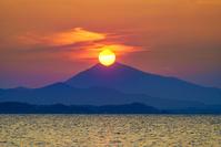 茨城県 筑波山の真ん中に沈む夕日