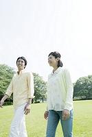 芝生を歩くカップル、