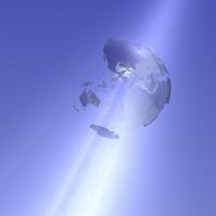 地球儀と光線