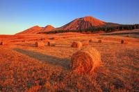 熊本県 夕日に染まる干し草ロールと杵島岳と往生岳 阿蘇山