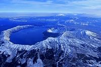 北海道 摩周湖 摩周岳 斜里岳 気球から撮影