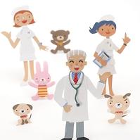 医者と看護師と動物のクラフト