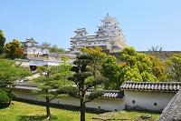 兵庫県 姫路城 西の丸化粧櫓前から見る天守閣と建物群