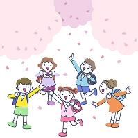 イラスト 桜と小学生