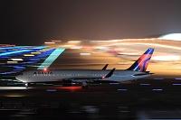 ボーイング767 夜の出発機 デルタ航空
