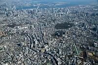 恵比寿駅と恵比寿ガーデンプレイス周辺より品川 東京湾方面