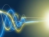 ウェーブから直線移動に変化する光線