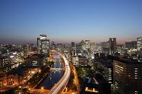 大阪府 大阪市 中之島と梅田の夕景