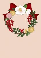 椿や菊で作られたクリスマスリース イラスト
