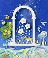 白バラの咲く門