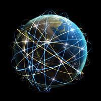 ネットワーク光線が大量に行き交うアジア圏の地球