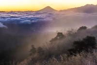 長野県 高ボッチ高原からの富士山の朝焼け