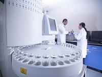 研究所で働く男女の科学者