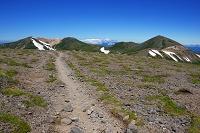北海道 大雪山系 間宮岳付近の稜線の登山道