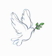 オリーブの枝を運ぶハト