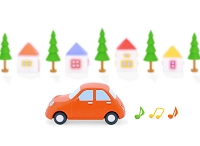 赤い粘土の車と家並み