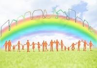 虹の下で手を繋ぐ人々