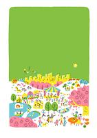 人々で賑わう公園 春 緑バック
