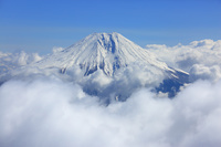 静岡県 富士宮市上空から見る富士山と大沢崩れ