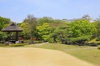 兵庫県 好古園 築山池泉の庭から見る姫路城の長局