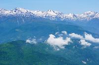 長野県 雨飾山から白馬岳左の山