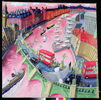 Westminster and the Wheel II, 2000 (oil on canvas)