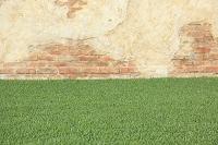 壁と青々とした芝生の背景素材