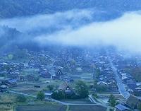 白川郷、荻町合掌造り集落、朝靄
